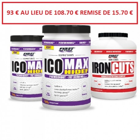 Pack 2 ICOMAX HI-DEF 500g + 1 IRON CUTS 1100g -FIRST IRON SYSTEMS